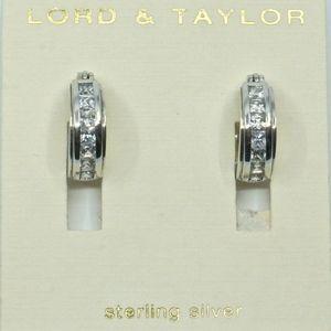 LORD & TAYLOR~NWT~sterling & crystal~HOOP EARRINGS